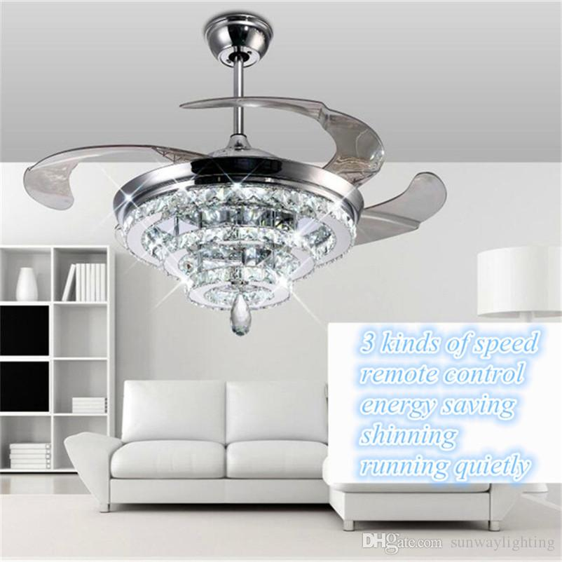 2018 led crystal chandelier fan lights invisible fan crystal 2018 led crystal chandelier fan lights invisible fan crystal lights living room bedroom restaurant modern ceiling fan 42 inch with remote control from aloadofball Choice Image