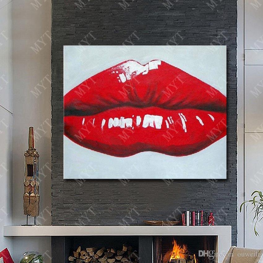 Rotes Lippenbild Der Sexy Frauen Der Sexy Mädchenkunst Die Handgemalte Wand Hängenden Dekorationszusammenfassungs Malereisegeltuch Malt