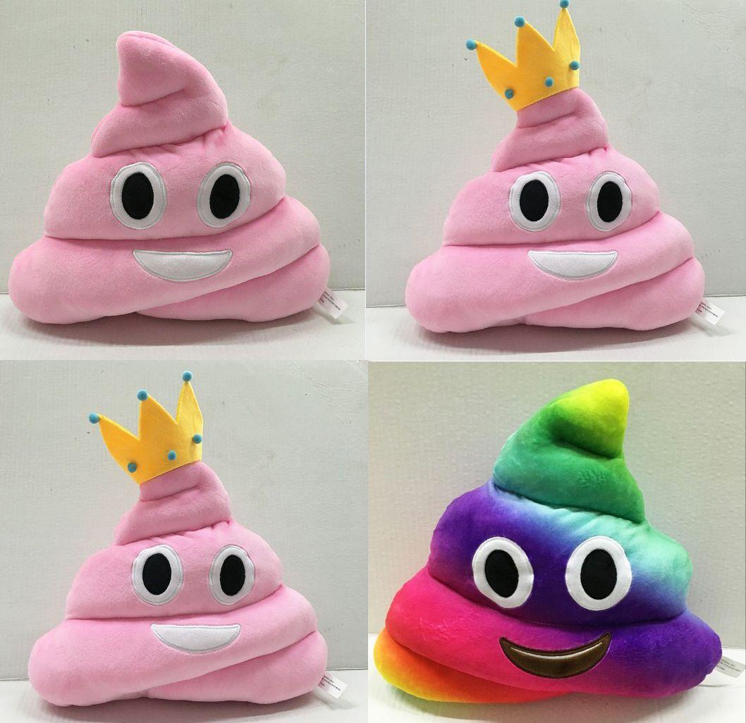 Nuevo 35 cm emoji juguetes de peluche Cojín de dibujos animados de 14 pulgadas Poop Stuffed Animals Almohadas muñecas corona rosa color arco iris EMS C804