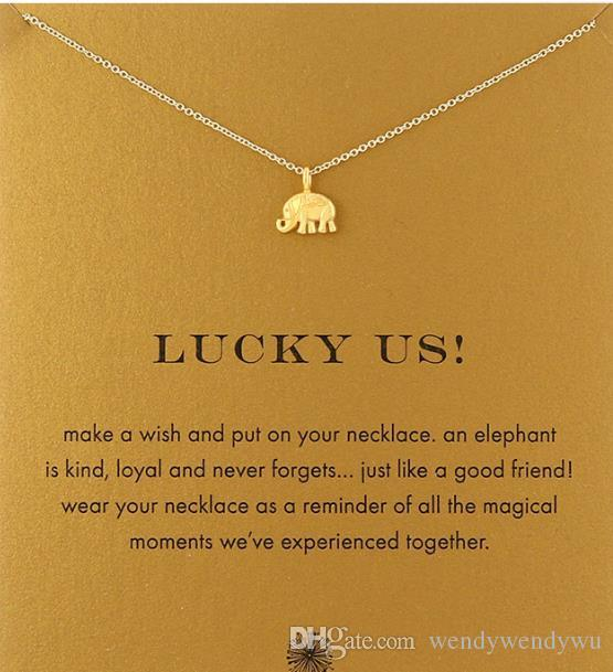 With card! Very cute! 28 styles Silver and gold color Dogea Necklace with different pendant, elephant/dragonfly/karma/lotus,