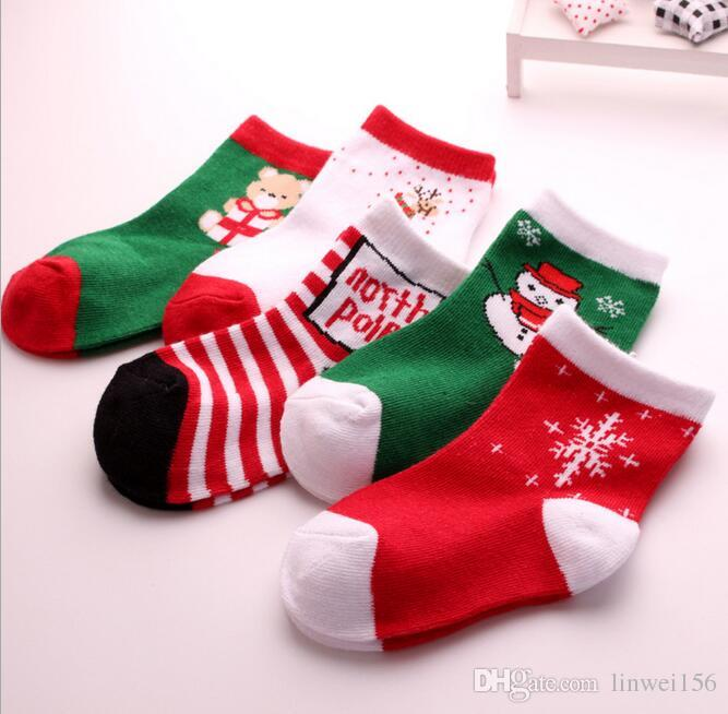 New Baby Kids Christmas Socks Floor Anti Slip Socks Toddler Girls ...