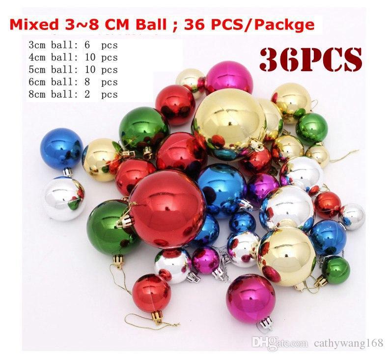 36 Pcs Mixed 3 8cm Multi Color Plastic Ball Christmas Tree Ornament Christmas Balls Decorantion Festice Festive Party Supplies