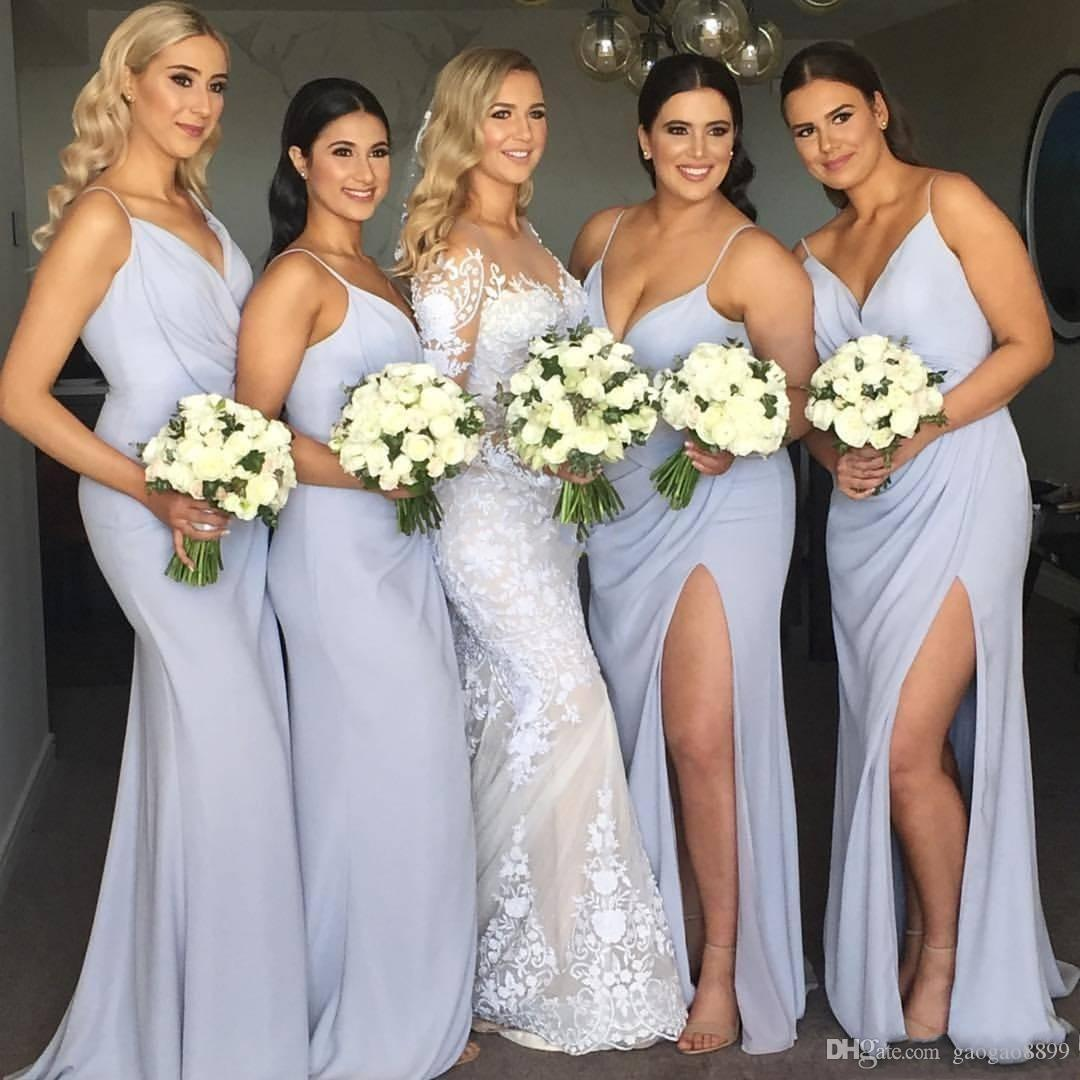Simple Chiffon Long Plus Size Bridesmaid Dresses Spaghetti Straps Side  Floor Length 2019 Beach Wedding Guest Dresses Yellow Bridesmaid Dress  Brides ...