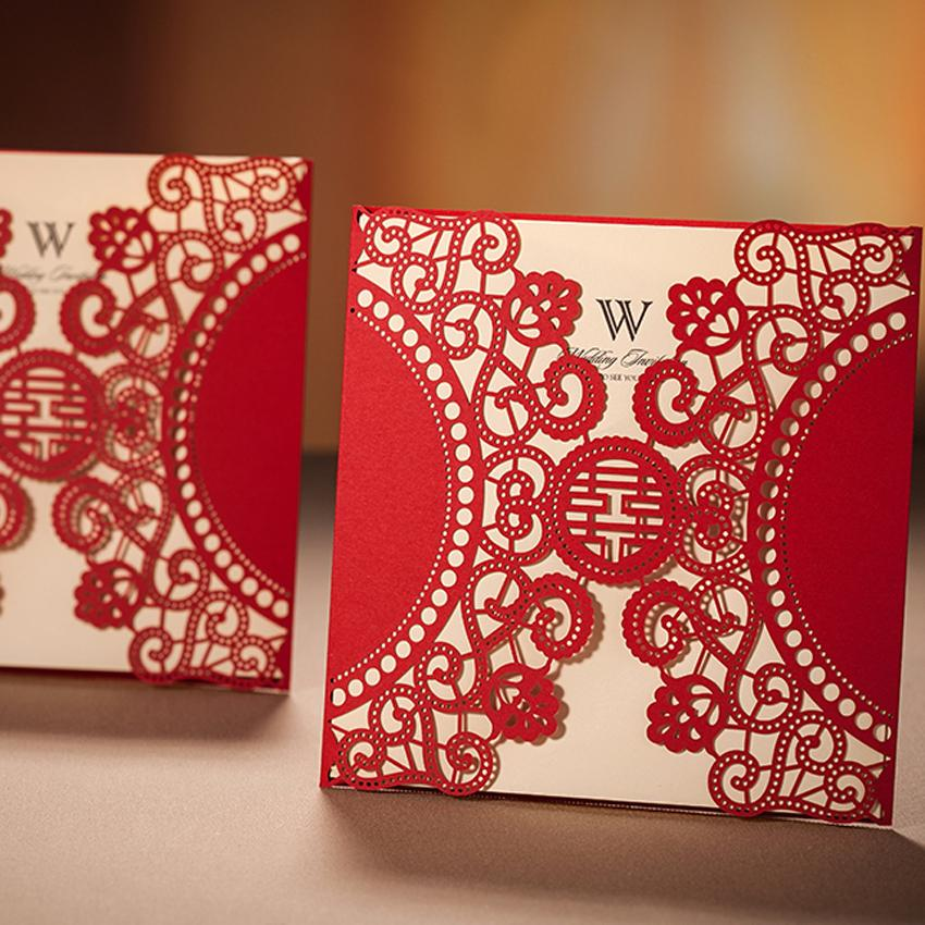 Wholesale Chinese Laser Cut Red Wedding Invitations Wishmade Convite
