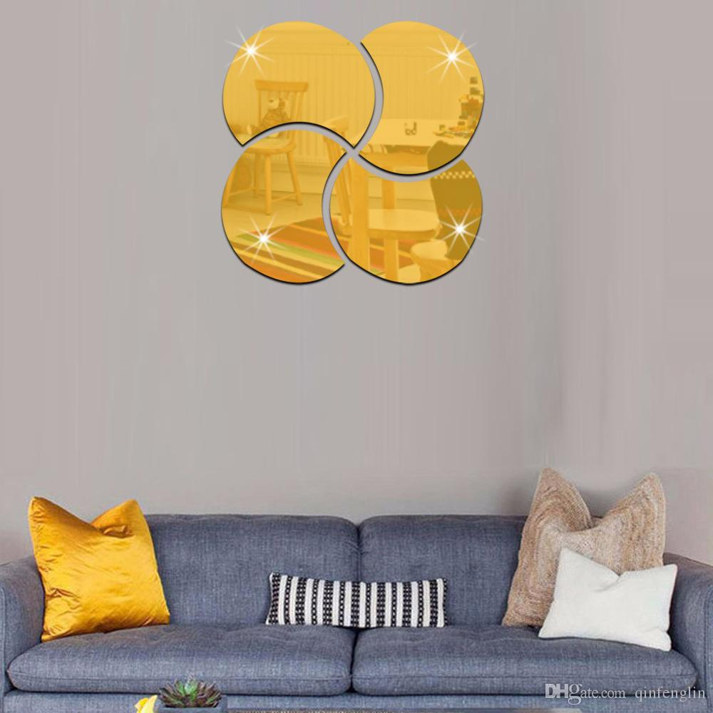 Round Geometric Mirror Fl Wall Stickers Removable Art Decal Mural Home Bathroom Decor Surface Sticker Kitchen Ladybug