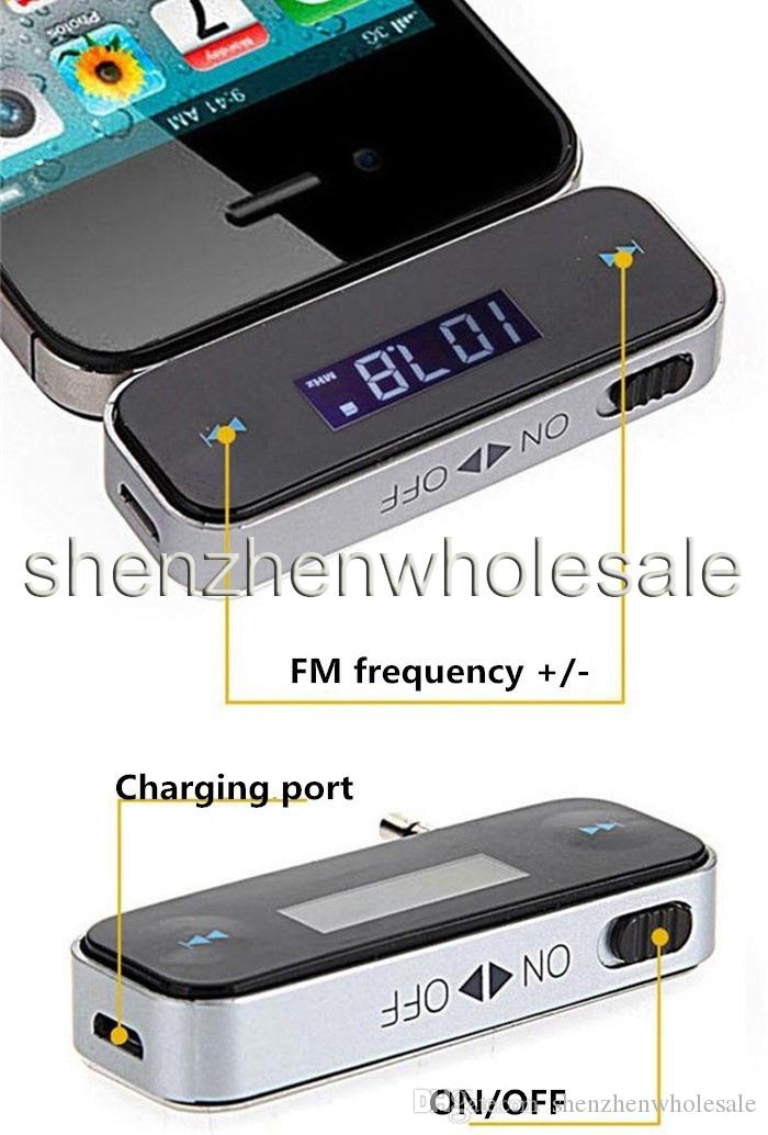 Wireless 3.5mm Car LCD Display FM Transmitter Cable For iPhone 4S 5S 6 ipod Touch with retail box Free DHL