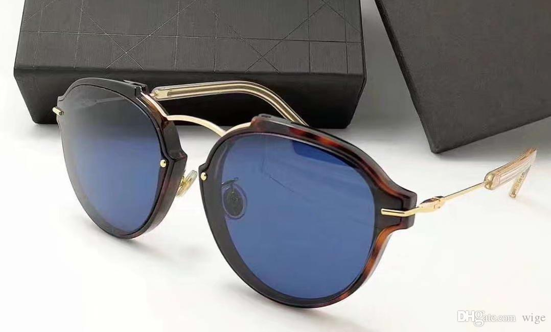 Donne Eclat / s Havana Gold / Blue Occhiali da sole Designer Luxury Vintage Fashion Occhiali da sole Eye Wear Nuovo con custodia