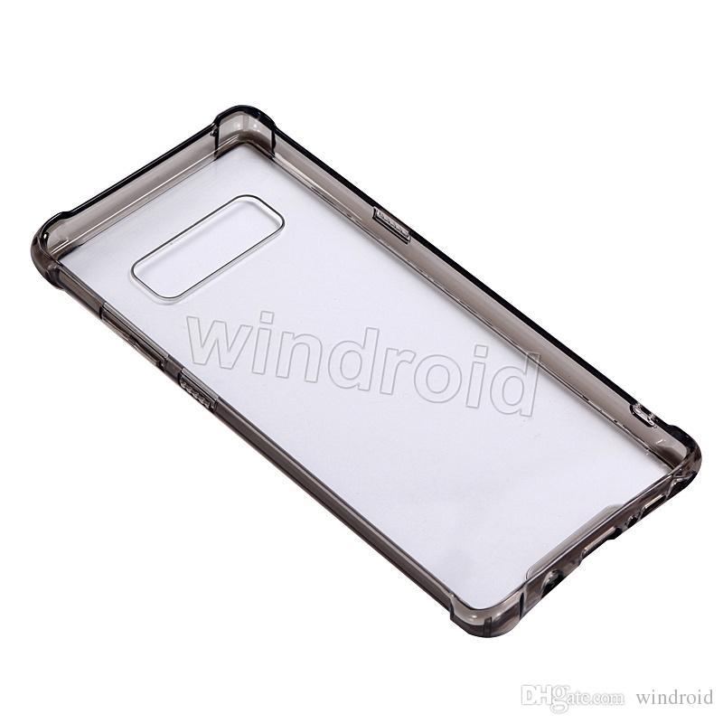 Tanie hybrydowe guma odporna na wstrząsy ciężka ramka zbroja miękka gruba rama TPU + twarda akrylowa tylna pokrywa obudowa dla Samsung Note 8 DHL 100szt