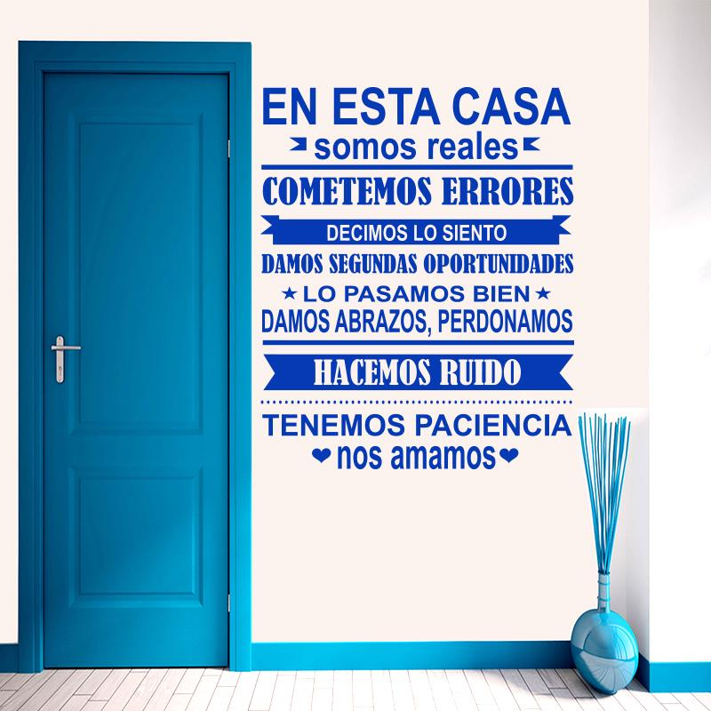 Spanish EN ESTA CASA House Rules Wall Sticker Home decor Family Quote house Decoration Vinyl Wall Decals kids room