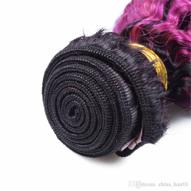 "Peruvian Purple Ombre Human Hair Bundles Kinky Curly Dark Root 1B/Purple Ombre Virgin Remy Human Hair Weaves Extensions 10-30"""