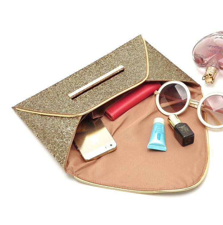 Womens Sequins Envelope Bag Bolso del embrague del bolso de fiesta del partido de noche Bolsos negros del mensajero del monedero de lujo Bolso de embrague es regalo