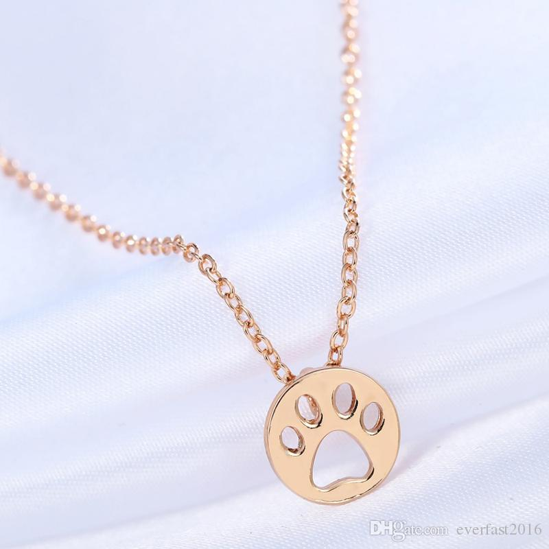 Wholesale Metal 2016 New Choker Necklace Dog Paw Print Animal Jewelry Women Children Pendant Long Cute Delicate Statement Necklaces