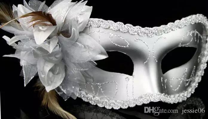 Las mujeres de moda Sexy máscara Hallowmas veneciano máscara de la mascarada de la máscara del ojo con la pluma de la flor máscara de pascua fiesta de baile vacaciones máscara envío de la gota