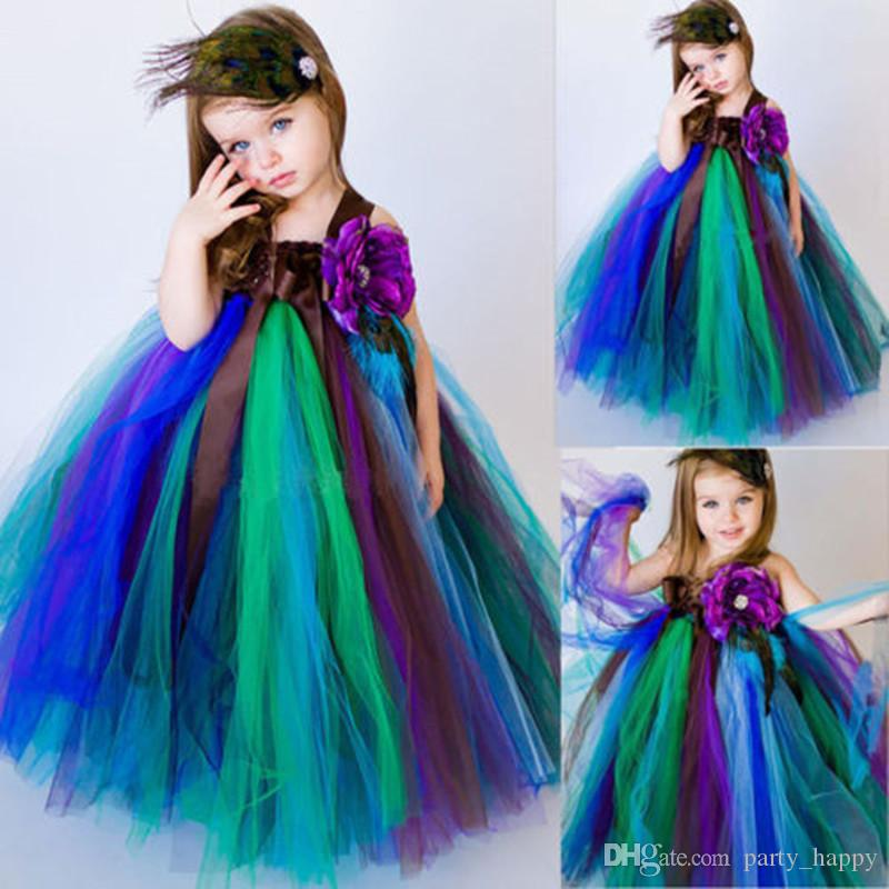 1ffe296a607 2016 The New Peacock Theme Dress Baby Girl Party Wedding Flower Girl Dress  Christmas Pageant Ballgown Kids Pageant Dresses Princess Dresses Toddler  Flower ...