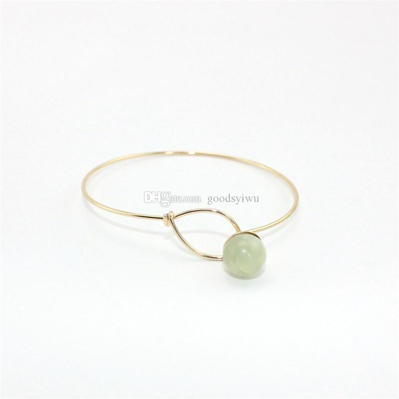 Fashion Round Natural Stone Beads Open Cuff Geometric Punk Bracelet Bangle Women Party Jewelry