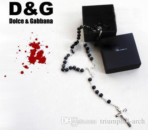 14818d82b028 10 piezas de plata 925 collar jesus cruz colgante rosario cuentas negras a  estrenar