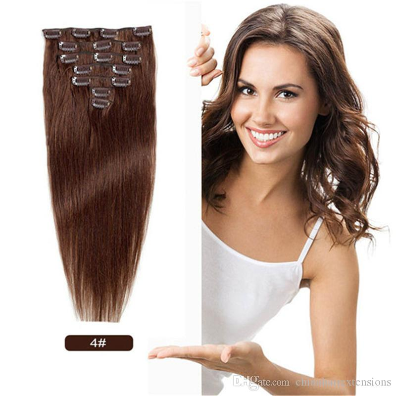 16 22 Inch Full Head Clip In Human Hair Extensions Brazilian Remy