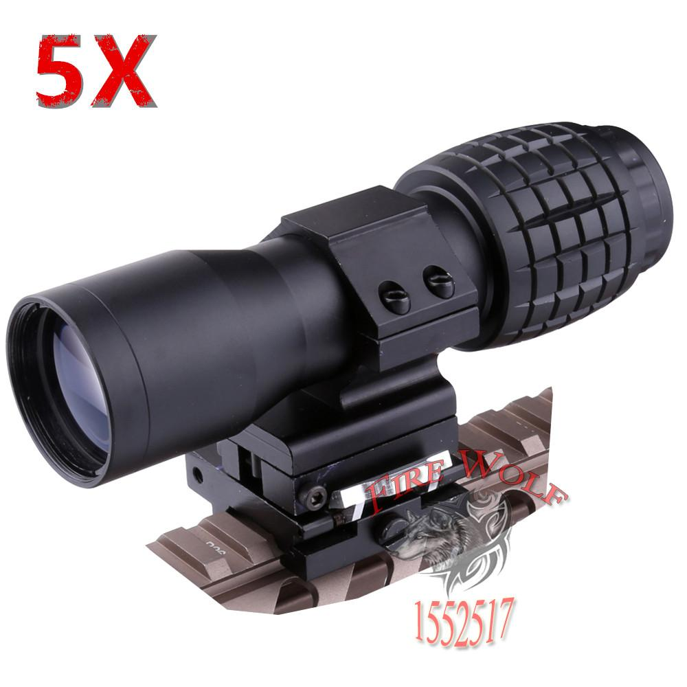 2019 Red Dot Sight Scope 5x Magnifier Quick Flip Scope