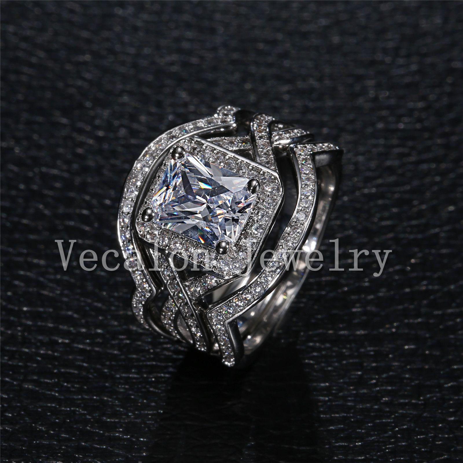 Vecalon Princess cut 4ct Simulated diamond cz 3-in-1 약혼 웨딩 밴드 반지 세트 여성용 10KT 화이트 골드 채워진 반지