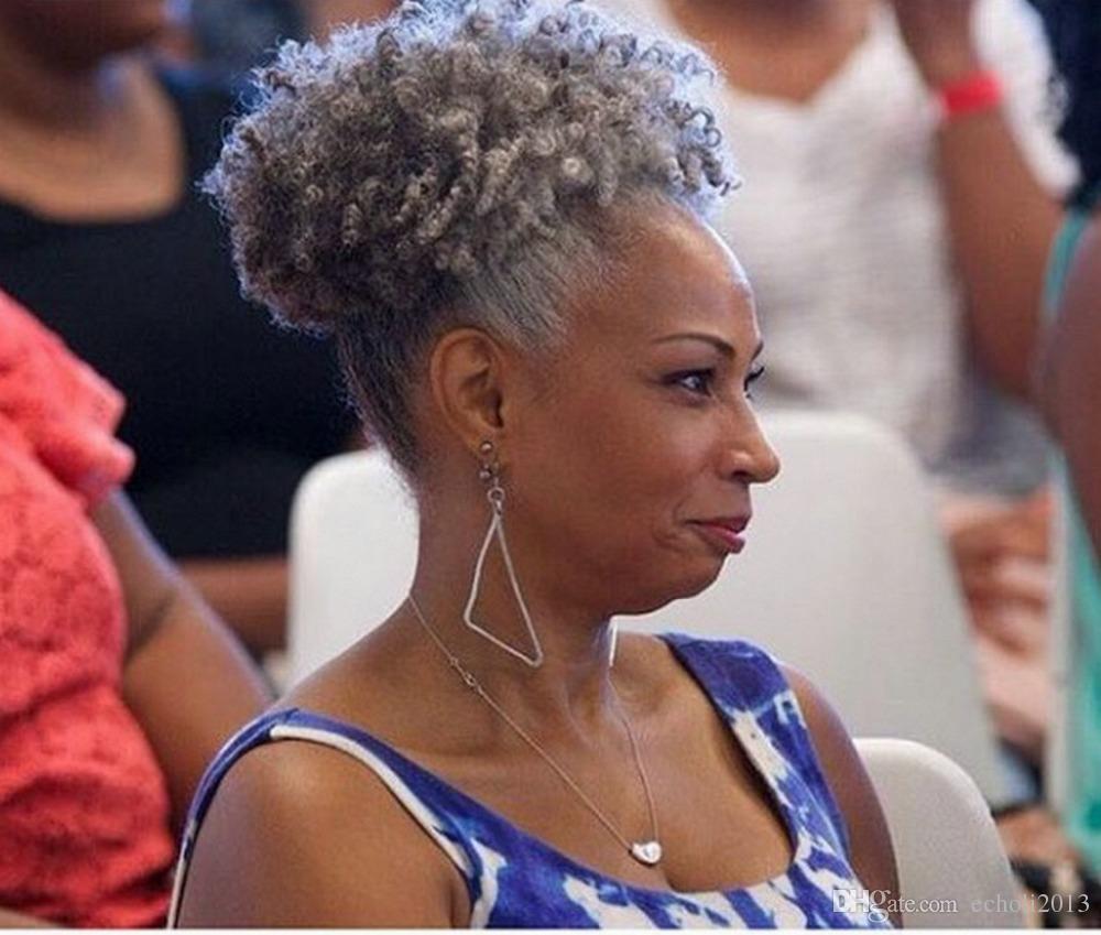 100% Echthaar grau Hauch Afro Pferdeschwanz Haarverlängerung Clip in Remy Afro Kinky lockige Kordelzug Pferdeschwanz grau Haarverlängerung 120g