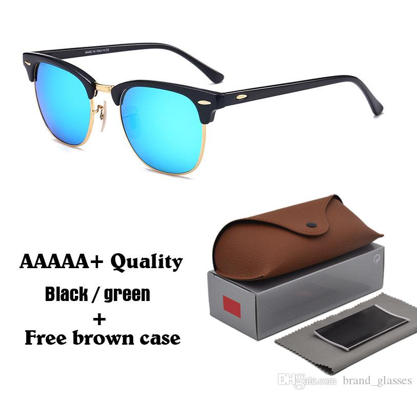 High quality ( Glass lens ) Brand Designer Fashion Men Women Sunglasses Plank frame Coating Sport Vintage Sun glasses With box and cases