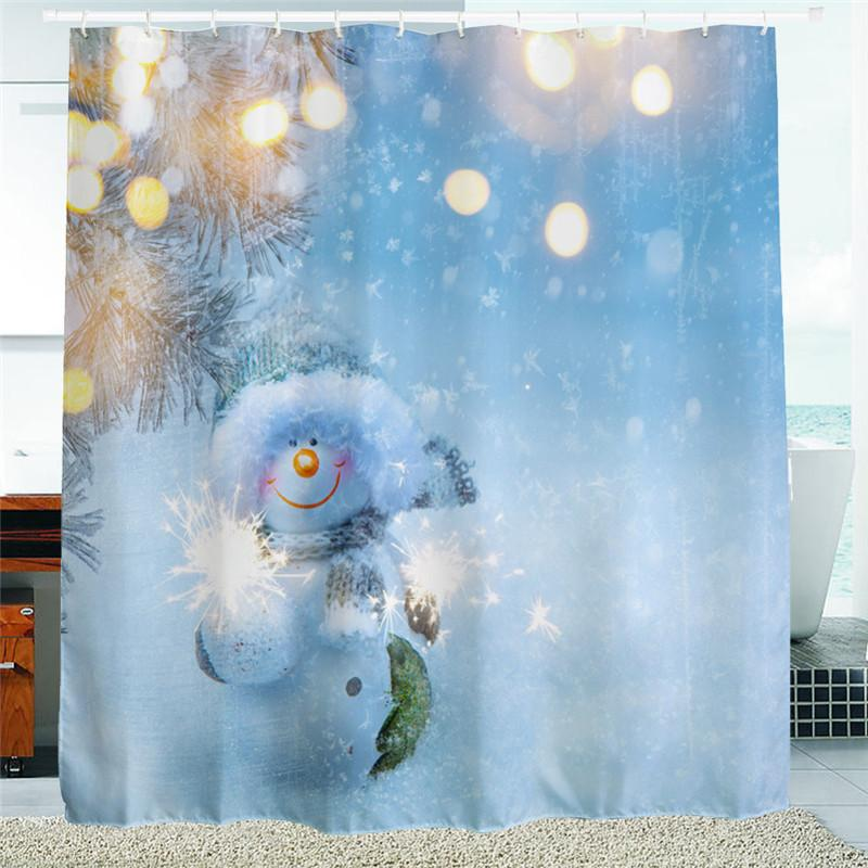 2018 2016 Waterproof Christmas Fireworks Snowman Polyester Shower Curtain Bath Bathing Sheer For Home Store School Decorations From Bassy168