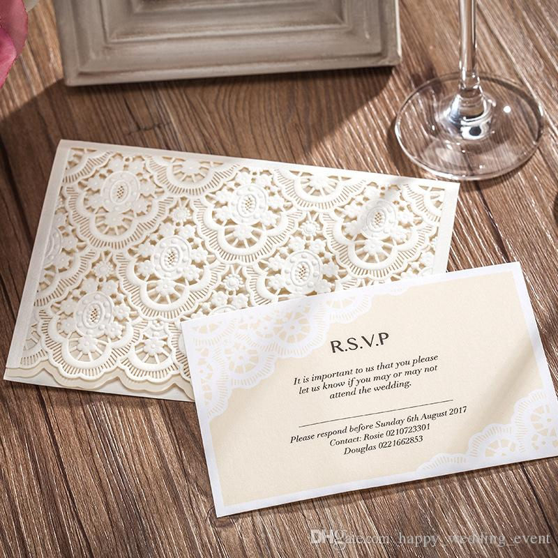wedding invitation with rsvp card elegant ivory