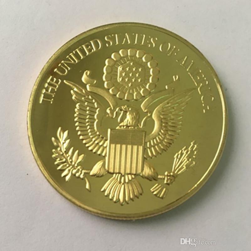 10 adet Olmayan manyetik Kel Kartal Amerikan hayvan rozeti 24 K gerçek altın kaplama 40mm hatıra sikke ücretsiz kargo