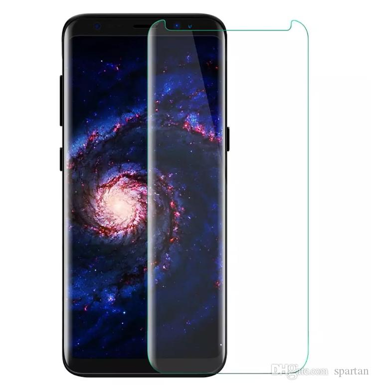 For Samsung S8 S8 plus Curved Tempered Glass Clear Screen Protector film with Retail Package for Most Case