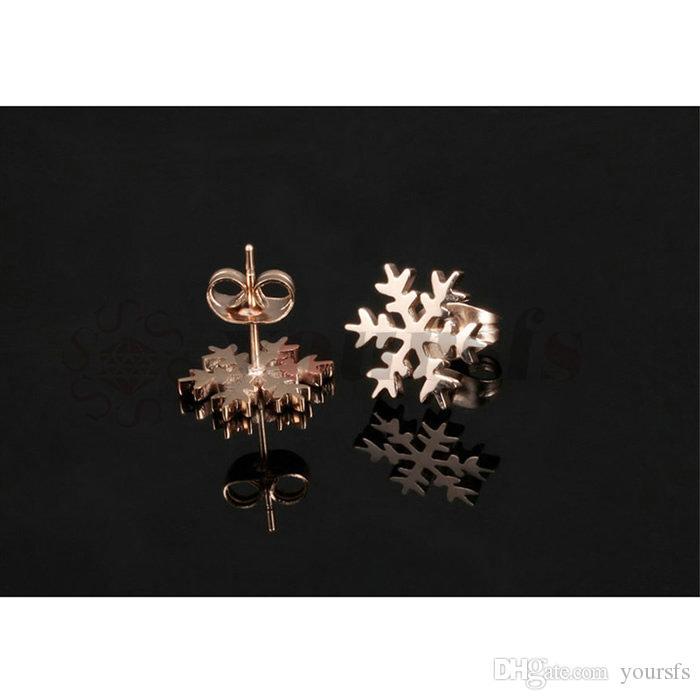 Yoursfs Rose-gouden kleur titanium stalen sieraden gratis milieu meisjes schattige sneeuwvlok oorringen