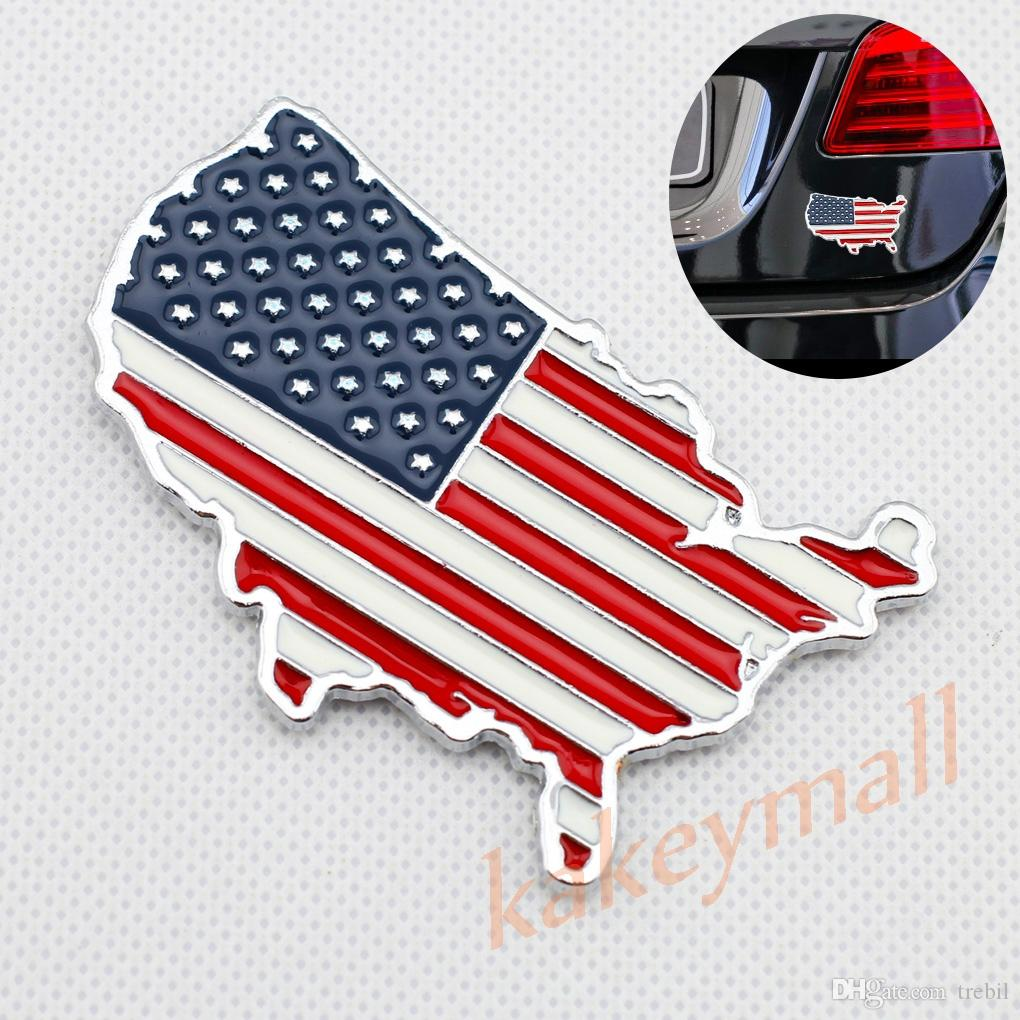 Universal Chrome Car Parts Badges Metal 3d Decal Sticker Us Usa