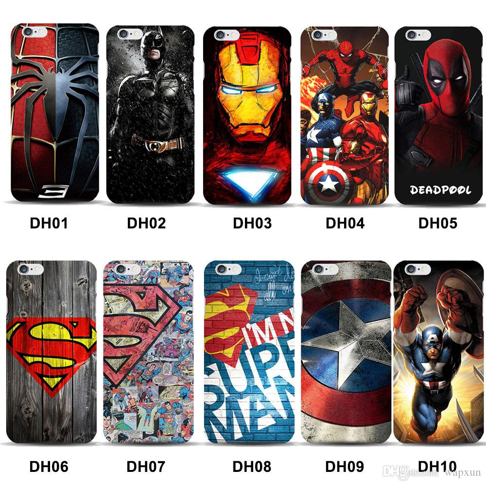 Marvel Avengers Superman Hard Case Cover for iPhone 5 5s 6 6s 7 8 Plus Batman Dark Knight Spider Ironman Captain America Shield
