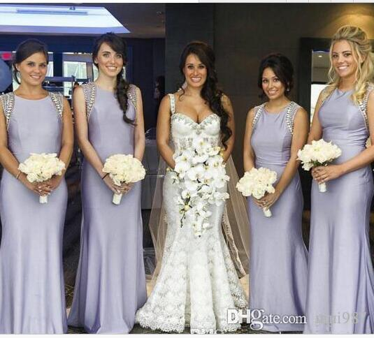 Gem Plus Size Long Bridesmaid Dresses With Beading Cheap Lilac mermaid  Evening Party Gowns Lavender bridesmaid gowns free shipping