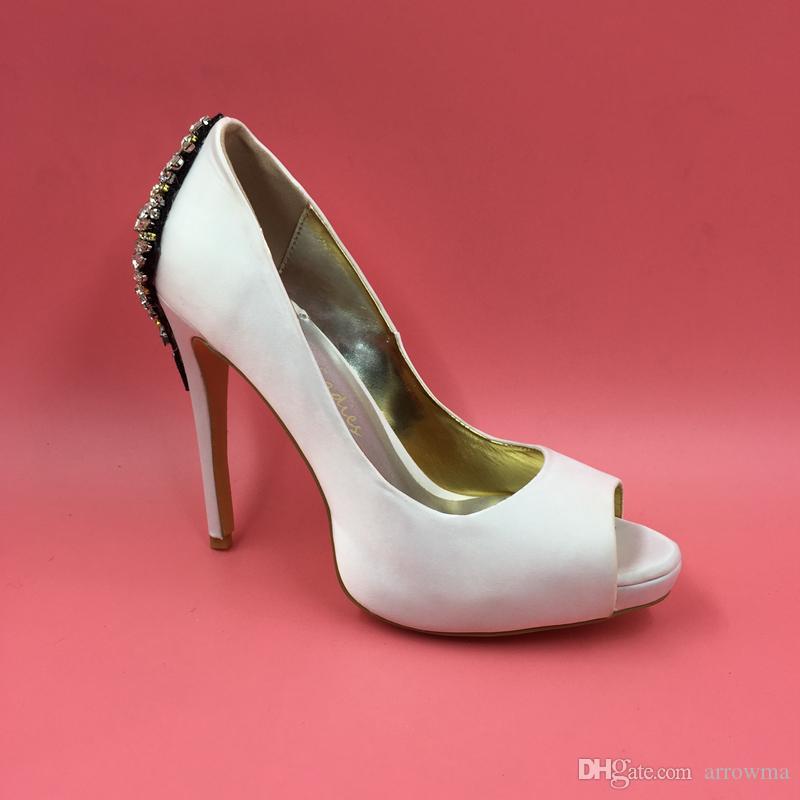 Rhinestone Bianco Bridal Shoes Shoes 2016 Tacchi ad alto sottile PEEP PEEP TOE perline di cristallo Sexy Immagine reale Plus Size Sandali da donna su misura