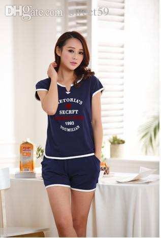2019 Wholesale New Knit Cotton Pyjamas Women Summer Short Sleeved Letters  Printed Sleepwear Comfortable Sport Home Clothing Pajamas From Sweet59 6c0e25055