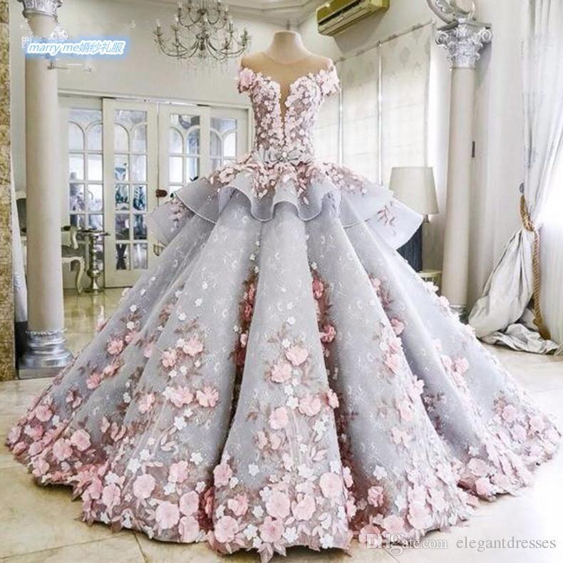 2016 Gerçek Görüntü Renkli dantel Balo Artı Boyutu Pembe Çiçekler Prenses Şapel Gri Gelinlik Gelinlikler