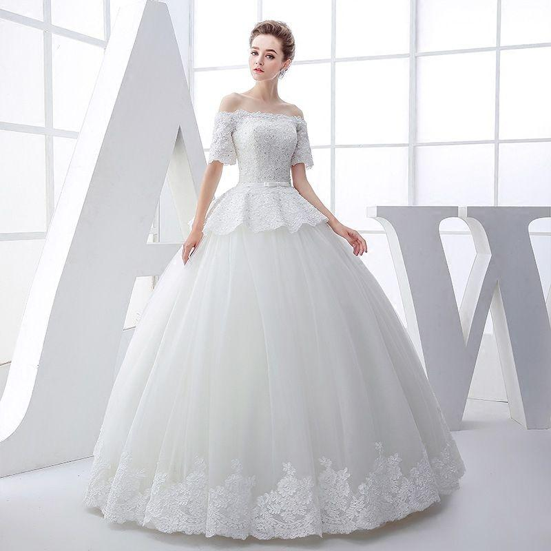 2016 New Spring Wedding Dress Wedding Bride Shoulder Bra In Long ...