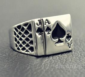 남자를위한 포커 링 멋진 한국 스타일의 검은 심장 반지 편지 좋은 qualty 도매 선물