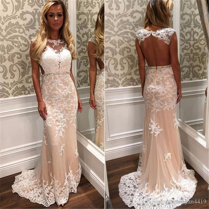 fdb0ac7df32a9 2017 Sexy Prom Dresses Jewel Neck Blush Pink White Lace Appliques Beaded  Open Back Sweep Train Plus Size Evening Gowns Formal Party Dress B Darlin  Prom ...