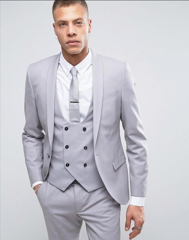 2019 Wholesale Latest Coat Pant Designs Grey Shawl Lapel Double