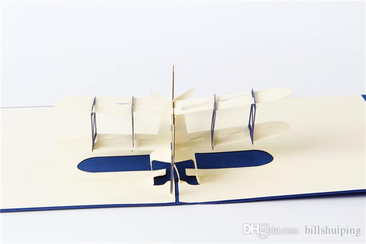 3d handmade pop up greeting cards plane design thank you airplane birthday cards suit for boy friend kids