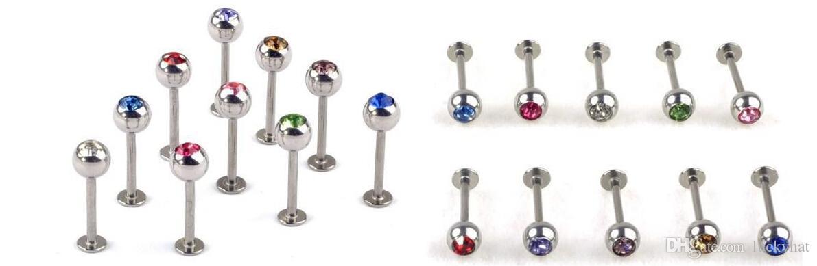 Mescolare Bulk Acciaio Inox Labbro Labret Anello Bar Stud Tragus Ball Body Piercing Puncture Cristallo fondo piatto labbro del chiodo in acciaio inox corpo