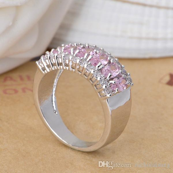 Charming Pink Sapphire Female Engagement Luxury Ring White Gold Filled Jewelry Vintage Wedding Rings For Women Bijoux Femme