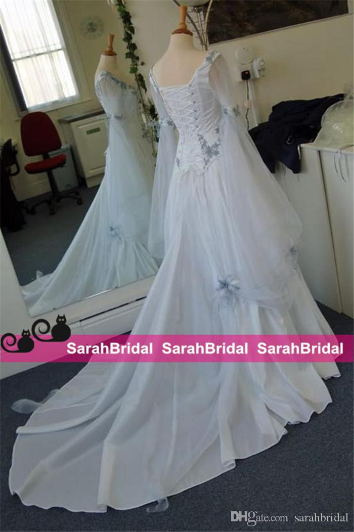 2021 robes de mariée celtique vintage ivoire et bleu pâle coloré coloré robe de mariée médiévale scoop corset manches longues appliques personnalisées fabriquées bon marché