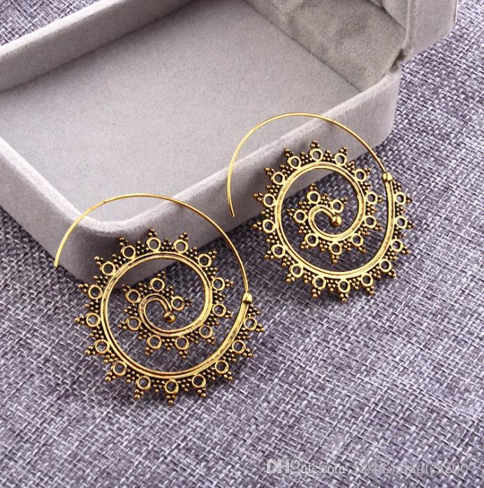 2017 Trendy personality round spiral earrings exaggerated whirlpool gear earrings statement jewelry for Women T506