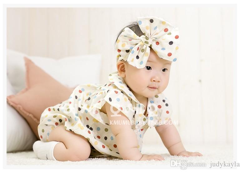 2016 enfant en bas âge bébé barboteuses infantile garçons filles filles à pois barboteuse avec bandeau nouveau-né bébés d'été manches courtes combinaisons /