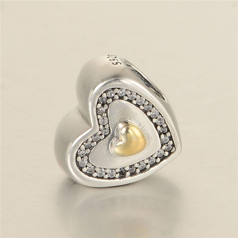 Coração encantos Beads 14k S925 Sterling Silver Fits para Pulseiras de estilo de marca original 791523cz H8