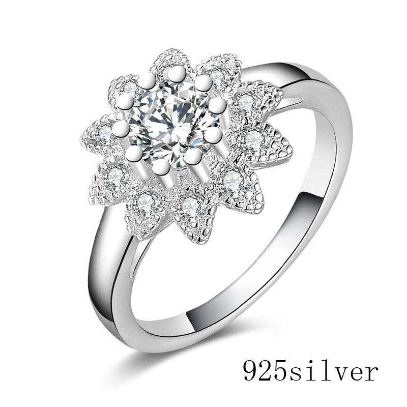 Platinum filled 925 Sterling Silver Ring and Cubic Zirconia Ring Romantic Wedding Rings Diamond-jewelry Factory price