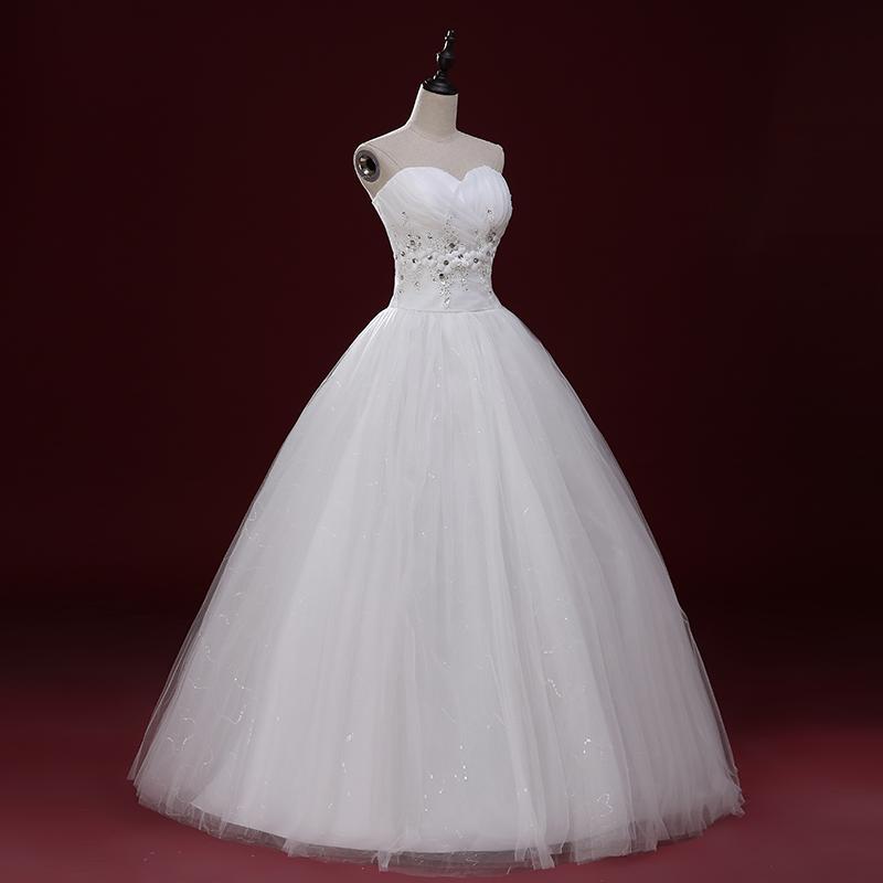 Милая Тюль Бальное Платье Свадебное Платье С Цветами 2016 Бисером Свадебные Платья Зашнуровать Дешевые Свадебные Платья