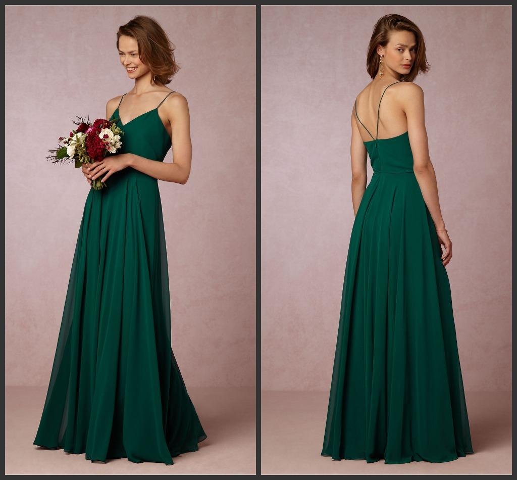 Long inesse emerald a line bridesmaids dresses 2016 chiffon long inesse emerald a line bridesmaids dresses 2016 chiffon spaghetti straps sleeveless maid of honor formal gowns floor length zipper back latest ombrellifo Image collections